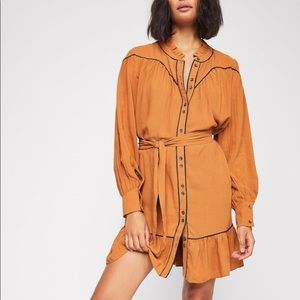 Free People western orange and blue piped dress